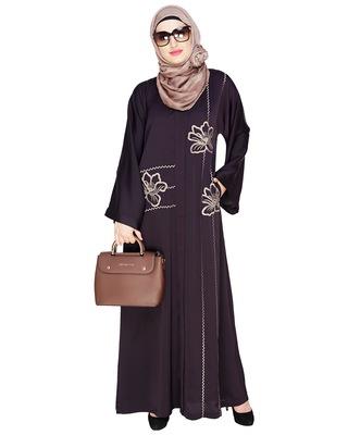 Dark-purple embroidered satin dubai style abaya
