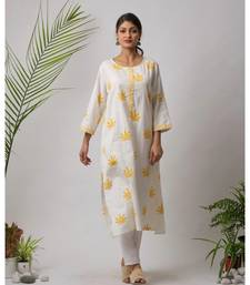 White printed Iker Cotton Kurta