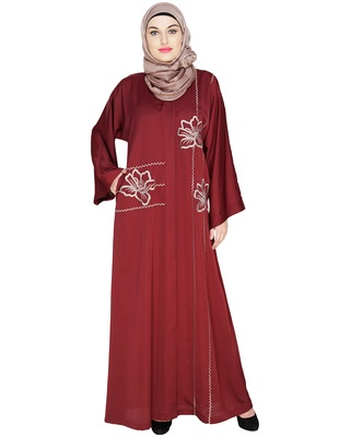 Wine embroidered satin dubai style abaya