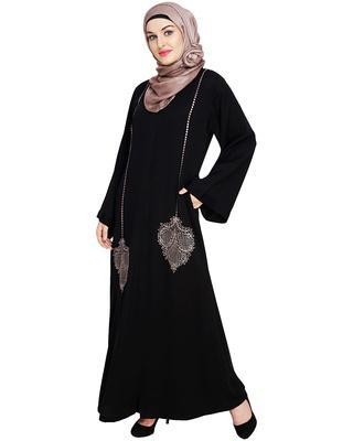 Black embroidered satin dubai style abaya