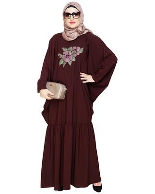 Brown embroidered nida irani kaftan abaya