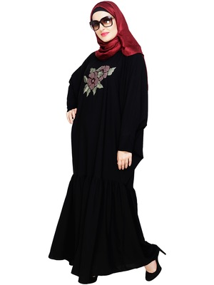 Black embroidered nida irani kaftan abaya