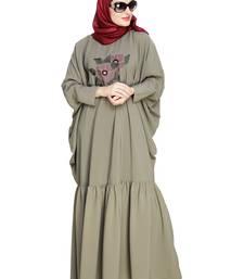 Sea-green embroidered nida irani kaftan abaya