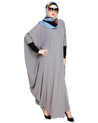 Grey embroidered nida irani kaftan abaya