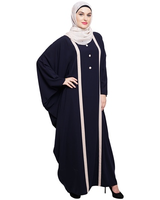 Blue embroidered nida irani kaftan abaya
