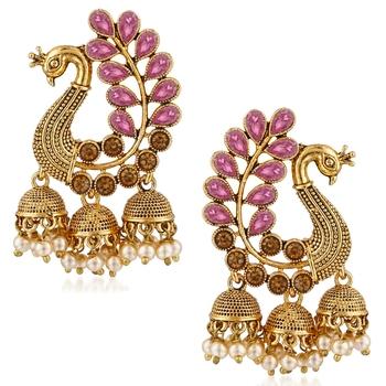 Saizen Traditional Gold Pearl Peacock Kundan Jhumkas Diamond, Pearl Alloy Jhumki Earring