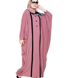 Onion-pink embroidered nida irani kaftan abaya