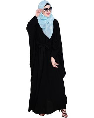 Black embroidered nida irani kaftan abaya