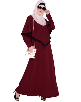 Wine embroidered nida abaya