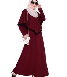 Wine embroidered nida abaya