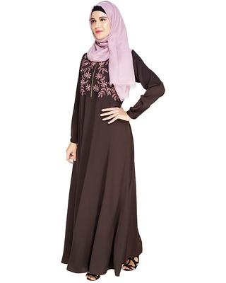 Brown embroidered satin abaya