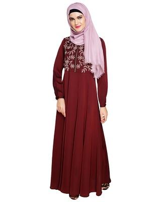 Wine embroidered satin abaya