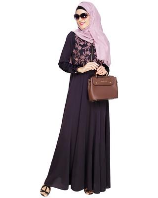 Dark-purple embroidered satin abaya