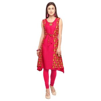 Pink printed rayon party-wear-kurtis