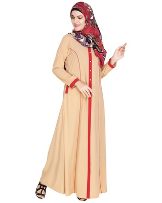 Beige embroidered nida abaya
