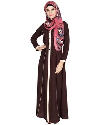 Brown embroidered nida abaya