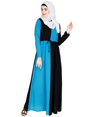 Teal-blue embroidered nida abaya