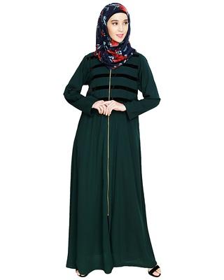Green embroidered nida abaya