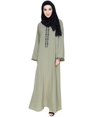 Sea-green embroidered nida dubai style abaya
