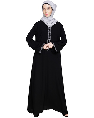 Black embroidered nida dubai style abaya