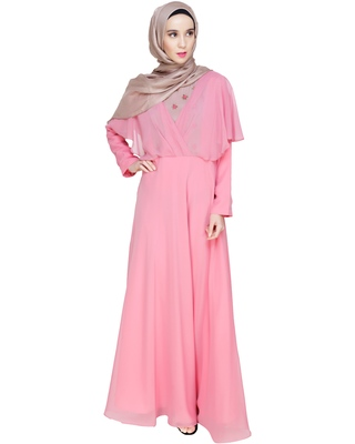 Rose embroidered georgette abaya