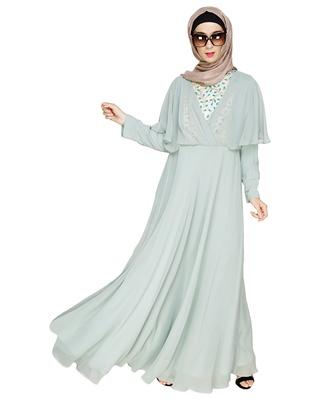 Sea-green embroidered georgette abaya