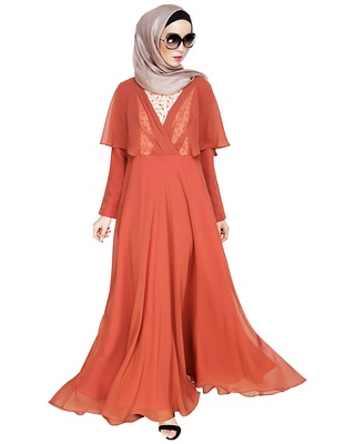 Red embroidered georgette abaya