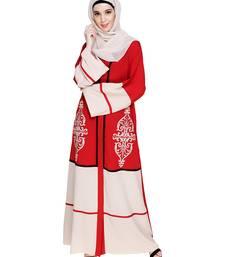Red embroidered nida dubai style abaya