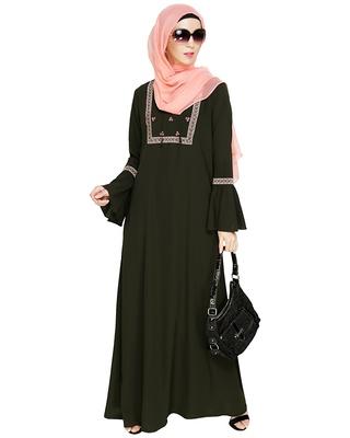 Olive embroidered nida abaya