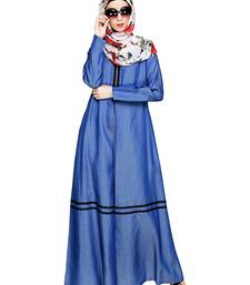Dark-blue embroidered denim abaya
