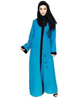 Teal-blue embroidered nida dubai style abaya