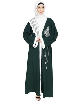 Green embroidered nida dubai style abaya