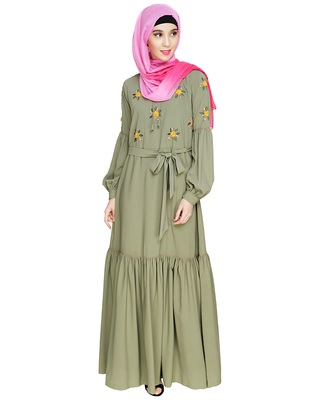 Sea-green embroidered nida abaya