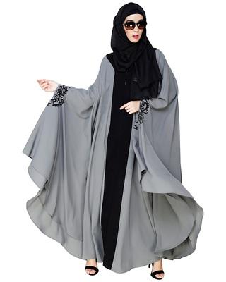 Grey embroidered nida irani kaftan abaya