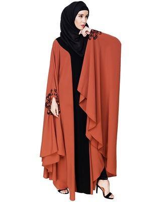 Red embroidered nida irani kaftan abaya