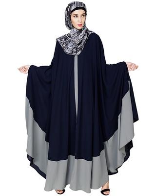 Blue embroidered nida irani kaftan abaya