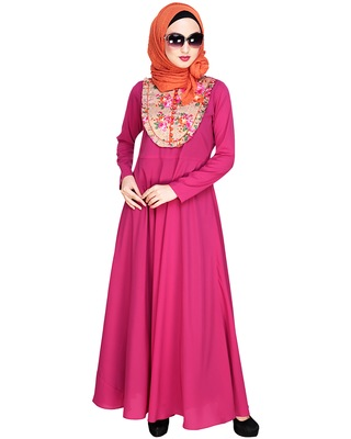 Magenta embroidered nida abaya
