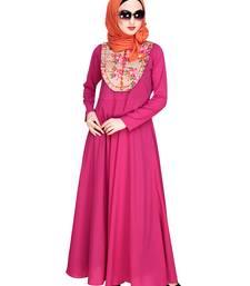 Magenta embroidered nida abaya