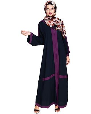 Blue embroidered nida dubai style abaya