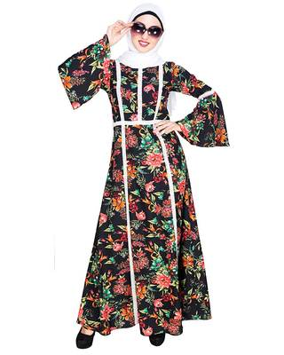 Multicolor embroidered crepe maxi dress abaya