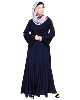 Blue embroidered nida abaya
