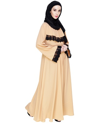 Dark-beige embroidered nida abaya