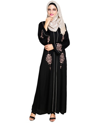 Black embroidered satin abaya