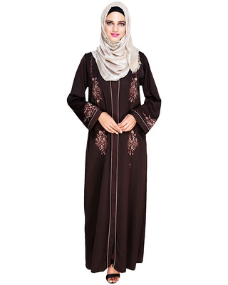 Dark-brown embroidered satin abaya