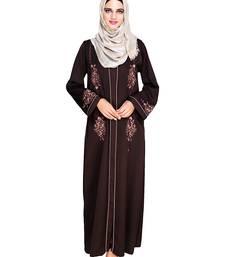 Dark-brown embroidered satin abaya