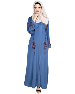 Teal-blue embroidered satin dubai style abaya
