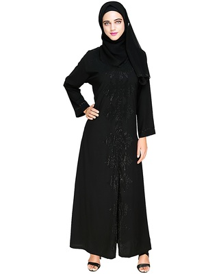 Black embroidered satin abaya