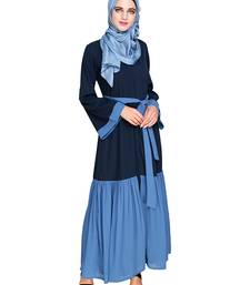 Dark-blue embroidered nida abaya