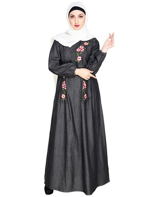 Black embroidered denim abaya