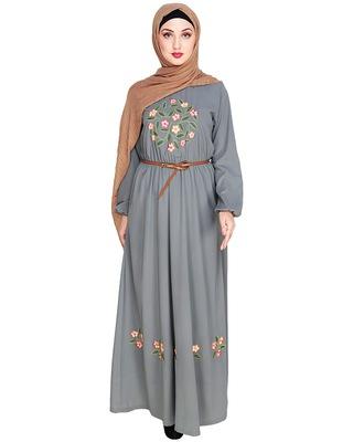 Grey embroidered nida abaya